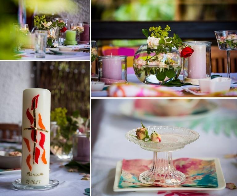Tisch-Dekoration zur Familienfeier Firmung